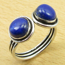 925 Sterling Silver Overlay Rare LAPIS LAZULI Size UK P 1/2 Ring Perfect Gift