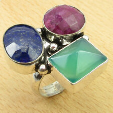 925 Silver Overlay GREEN ONYX, RUBY & LAPIS LAZULI Size UK M Ring Gift BRAND NEW