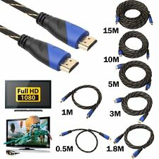 0.5M - 15M New Braided HDMI Cable V1.4 AV HD 3D for PS3 Xbox HDTV Meters 1080P