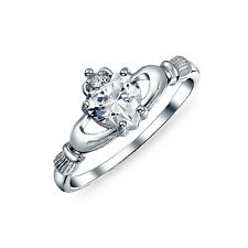 Bling Jewelry Irish Celtic Sterling Silver Heart CZ Claddagh Ring
