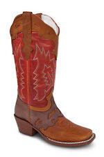 New Womens Tan Cowgirl Western Leather Rodeo Boots REDHAWK 6140 Size 5-10 (B, M)