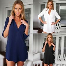 Sexy Women V Neck Long Sleeve Asymmetrical Casual Chiffon Blouse Tops T Shirt