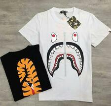 Men's Bape Shark Jaw Head Fake Zipper Design A bathing Ape Tiger Head Tee Shirt