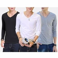 Hot Mens Fit Cotton Blouse Long Sleeve Casual T-Shirt Slim V-Neck/Crew Neck Tops