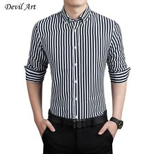2017 New Arrival Mens Long Sleeve Dress Shirts Striped Fashion Business Slim Fit