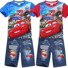 New Cars Mcqueen Boys Children Kids Summer Denim Pant Outfit Set T-shirt Tee Top