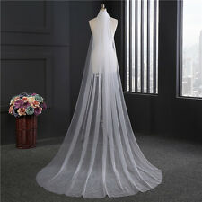 New White 3m Wedding Veils Cathedral Bridal Veil Simple 1 layer With Comb