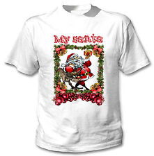 SANTA CLAUS AND DEER  MY SANTA CHRISTMAS - NEW WHITE COTTON TSHIRT