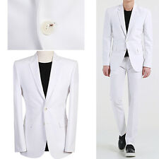 2BT WHITE Casual Men s Slim Fit Wedding Suit Prom Groom Tuxedos Suits US UK Sale