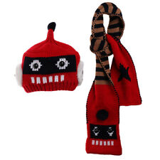2PCS Set Baby Kids Robot Design Knitting Beanie Cap Hats + Scarf Warm