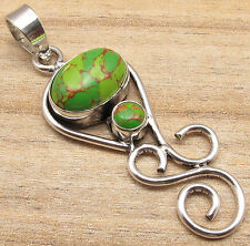 925 Silver Plated GREEN COPPER TURQUOISE, TIGER'S EYE & More GEM Choice PENDANT