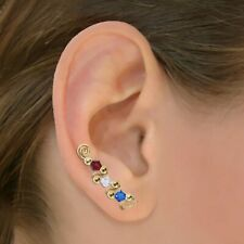 Ear Sweeps Pins Vines Earrings Gold or Silver with Swarovski Crystals #248