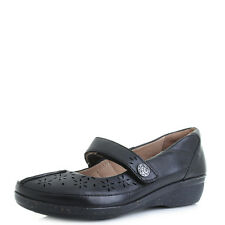 Womens Clarks Everlay Bai Black Flat Mary Jane Leather Shoes - D fit Shu Size