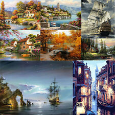 "16*12"" DIY Paint By Number Kit Digital Oil Painting Canvas Beautiful Scenery HOT"