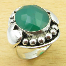 ANCIENT STYLE Ring Size UK N !! Wonderful GREEN ONYX Silver Plated Jewelry
