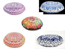 Floor Pillows Round Meditation Cushion Cover Ottoman Indian Large Mandala Poufs_
