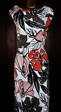 NEW Ladies Autograph Size 12 - 20 IVORY WHITE BLACK Floral Drape SHIFT Tea DRESS