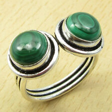 925 Sterling Silver Overlay Classic MALACHITE Multi Jewel UNISEX Ring Size UK Q