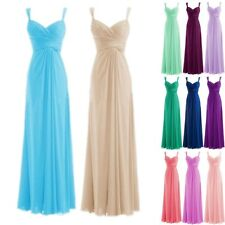 Plus Size 2-26W Straps Chiffon Long Bridesmaid Formal Prom Evening Party Dress