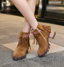 New Autumn Womens Tassels Zip Ankle Boots Mid Block Heel Shoes Plus Size College