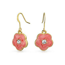 Bling Jewelry Gold Plated Crystal Color Clover Flower Dangle Earrings