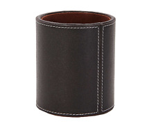 Pen Pot Faux Leather Office Desk Round Organiser Tidy Pencil Holder Stationary !