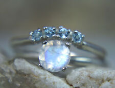 MOONSTONE- Rainbow Moonstone & Blue Topaz Sterling Engagement & Wedding Ring Set