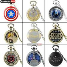 Lots Antique Steampunk Mens Pocket Watch Quartz Vintage Necklace Chain Pendant