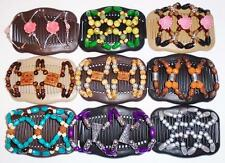 Double Magic Hair Combs, African Style Butterfly Clips, Multicolor Beads S2