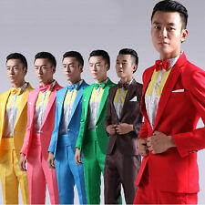 Korean Mens One Button Slim Fit Candy Color Costumes Suits Blazer Pant Suits