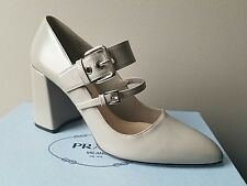 $790 PRADA Classic DOUBLE Buckle Mary Jane Pointy Toe Pumps EU 38.5