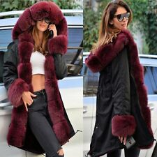 New Women Winter Warm Faux Fur Collar Coat Casual Thick Overcoat Parka Jacket