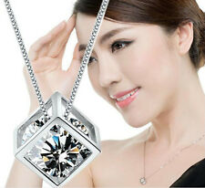 Fashion Women Silver Plated Chain Crystal Rhinestone Necklace Jewelry Gift