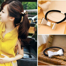 Lady Women Hair Cuff Wrap Bowknot Metal Holder Ring Tie Elastic Hair Band Rope