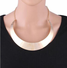USA Silver Tone Choker Mirrored Mottled Pop Metal Women Curved Necklace Collar