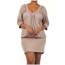 Plus Dress Taupe Blouson Banded Mini Casual Solid Above Knee New Womens 1X 2X 3X
