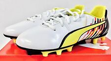 Puma Youth Reus V2 FG Firm Ground Soccer Cleats, White/Red/Black, Various Sizes