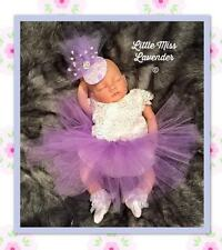 GIRLS BABY TODDLER LILAC TULLE LACE PEARL FASCINATOR HEADBAND WEDDING PARTY BOW