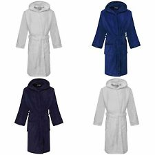KIDS BOYS HOODED BATHROBE 100% EGYPTIAN COTTON VELOUR TOWELLING DRESSING GOWN