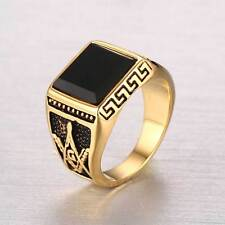 Retro Masonic Stainless Steel Ring Black Jewelry Gothic Steampunk Gold Band Mens