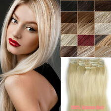 "7pcs Lot 14""-24"" Clip In Remy Real 100% Human Hair Extension Full Head for women"