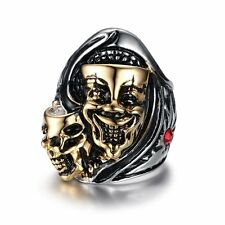 Retro Silver Skull Head Ring Stainless Steel Mens Jewelry Gothic Steampunk Band