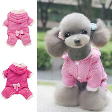 Cute Pet Dog Soft Pajamas Coat Polka Dot Cat Warm Hoodie Clothes Jacket XS-XXL