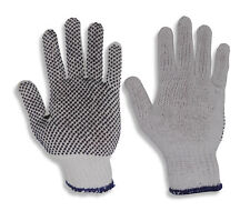Cotton Poly Gripper Dots Work Gloves Warehouse Hand Protection 24 Pairs
