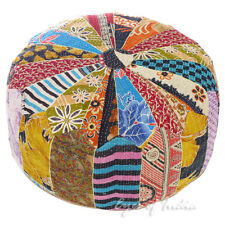 "24 X 10"" Kantha Colorful Round Ottoman Pouf Pouffe Cover Floor Seating Bohemian"