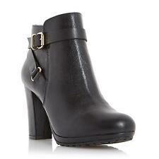 Dune Ladies PUGGY Strap And Buckle Detail Leather Ankle Boot in Black