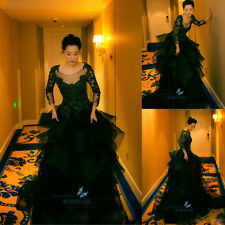 Green Lace Formal Evening Dress Party Prom Bridal Dress Pageant Celebrity Dress