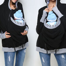 Women Removable Mommy Babies Pocket Pullover Blouse Top Plus Size Outwear