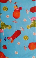 Summer Fun Tropical Drinks on Water Vinyl Flannel Back Tablecloth-Various Sizes