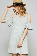 Promesa USA Heather Grey Cut-out Ruffle SleeveS Dress. Style 9057D